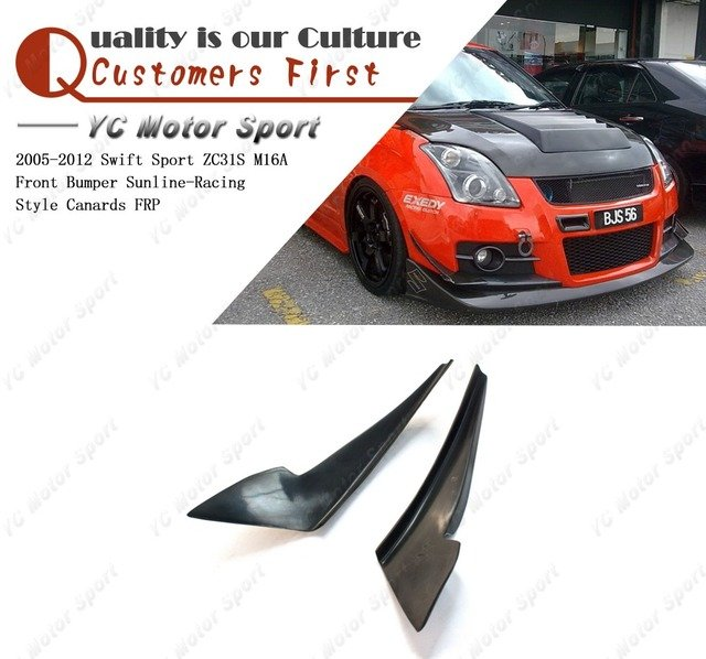 FRP Fiber Glass Sunline-Racing Style Front Bumper Canards Fit For 2005-2012 Swift Sport ZC31S M16A Front Canards