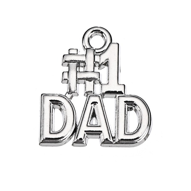 RAINXTAR Fashion Letter Charms Vintage Alloy Number One Dad Charms For Father's Day 16*18mm 50pcs AAC1467