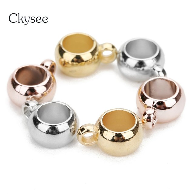 Ckysee 100Pcs/lot KC Gold Rhodium Color Spacer Bail Beads Diameter 6/8/10mm With Big Hole Round Connector Beads Charms Jewelry