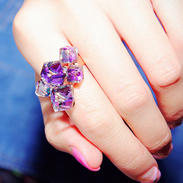 MOONROCY Drop Shipping Fashion Jewelry Rose Gold Color Hyperbole Be Purple Austrian Crystal Rings Party Ring for Women Gift