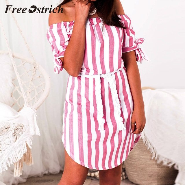 Free Ostrich 2019 Women Ladies Short Sleeve Striped Casual Off Shoulder Loose Mini Dress Short Sleeve Summer Holiday Style Dress