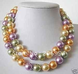 """factory price Elegant 12mm multicoloured shell pearl long necklace 34"""" fashion jewellery"""