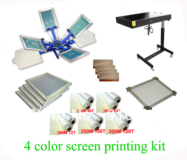 FAST FREE shipping! Hot Big Discount 4 color 2 station silk screen printing kit with flash dryer t-shirt printer stretched frame