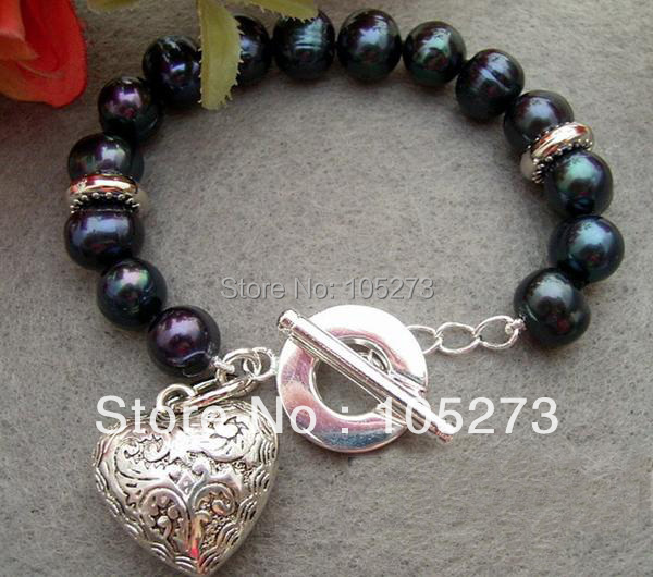 Top Quality Wholesale AA 10-11MM Black Genuine Freshwater Pearls Bracelet 8inch Tibet Silver Heart Pendant New Free Shipping