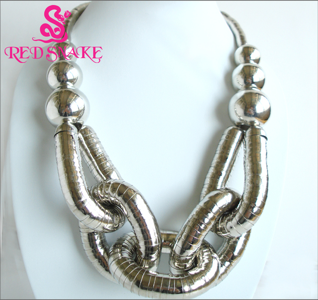 """RED SNAKE High Quality Stainless Steel Bendable Titanium Silver-plated Combination design """" Snake """" Necklaces"""