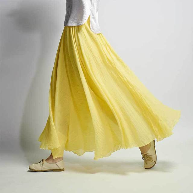 Women Cotton Linen Skirt Yellow Long High Waist Large Size Elastic A Line Girls Skirts Pleated Solid Color Ethnic Sweet Vintage