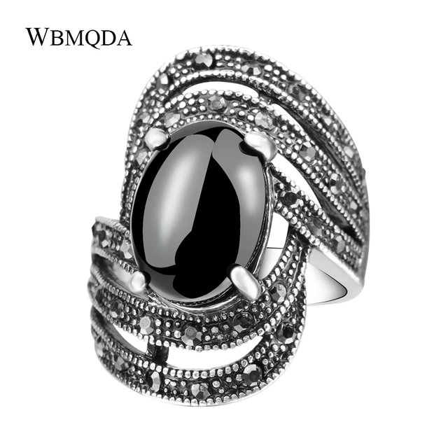 Hot 2018 Vintage Black Crystal Rings For Women Tibetan Silver Jewelry Fashion Punk Big Stone Line Wave Ring Free Shipping