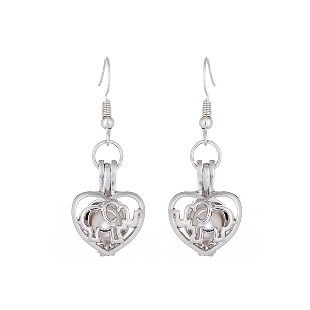 Pearl Oyster Locket Cage 6-7 mm Freshwater Cultured Oval Pearls Heart Pendant Dangle Earrings