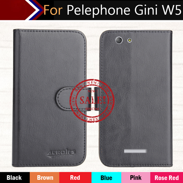 """Pelephone Gini W5 Case 5.5"""" Factory Direct! 6 Colors Dedicated Leather Exclusive Special Phone Cover Crazy Horse Cases+Tracking"""