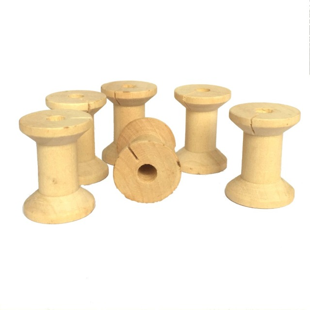 ZERZEEMOOY 24Pcs Vintage Style Empyty Wooden Bobbins Spools Reels Organizer For Sewing Ribbons Twine Wood Crafts Tools 21x29mm