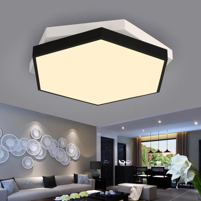 Modern Creative Hexagon Overlapping Living Room LED Ceiling Lamp Coffee Shop Light Black And White Bedroom Lamp Free Shipping