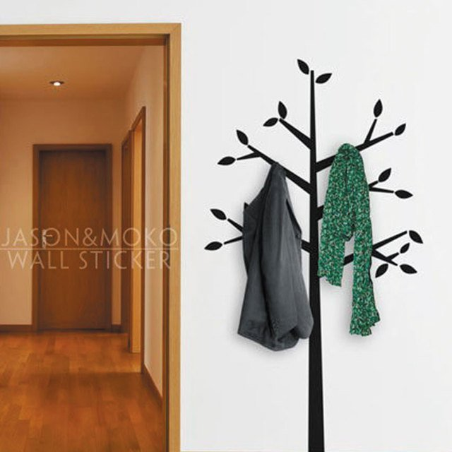 Coat Hanger Tall Tree Branches Leaf Wall Decal Home Decor Vinyl Wallpaper Mural Decoration Bedroom Organizer 90x170cm