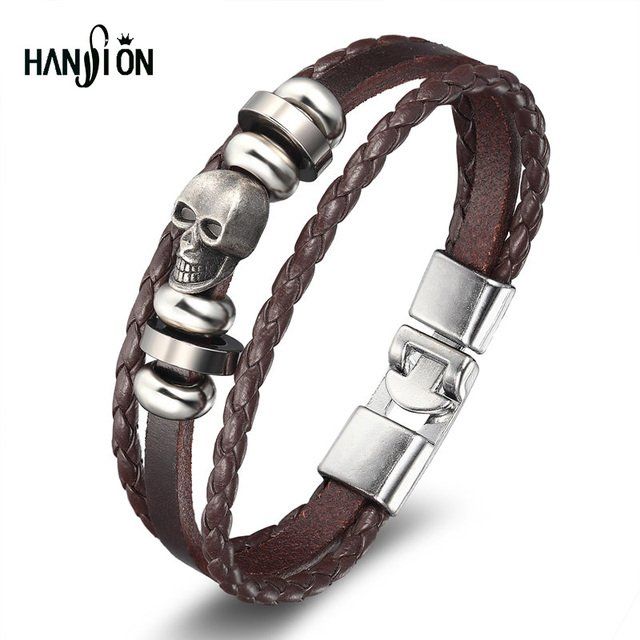 XiongHang Men's Leather Skull Bracelets Rock Punk Alloy Skeleton Charms Cuff Bracelet Bangles Casual Jewelry