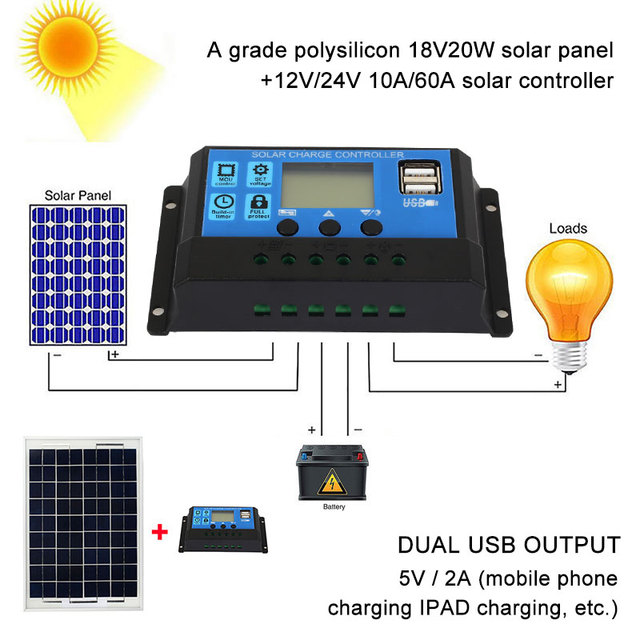 Mono Solar Panel PWM Solar Controller Solar Panel Charger Multifunctional DIY Charging Regulator Solar Charge Controller