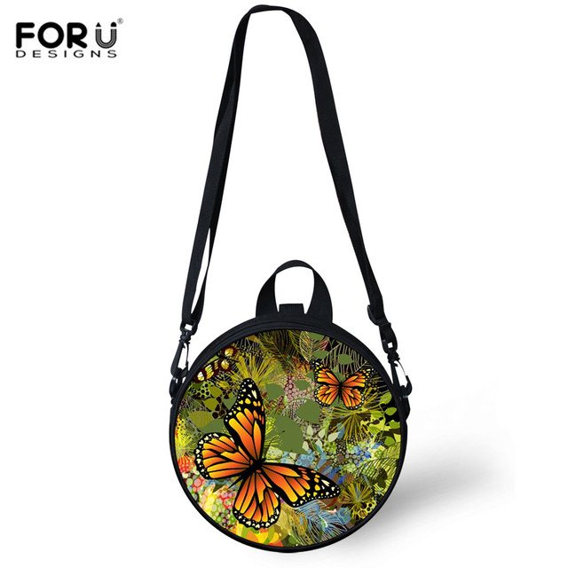 FORUDESIGNS School Round Bag For Teenagers Girls Butterfly Print Women Messenger Bags Shoulder Kids Small Crossbody Bag Bolsa