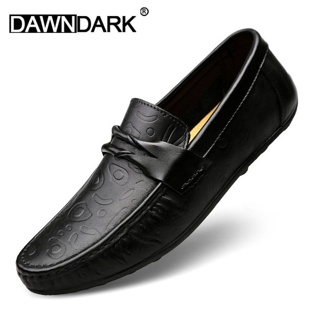 Genuine Leather Casual Men Shoes Slip on Male Brand Fashion Handmade Boat Shoes Comfortable Man Flats Moccasins Loafer Plus Size