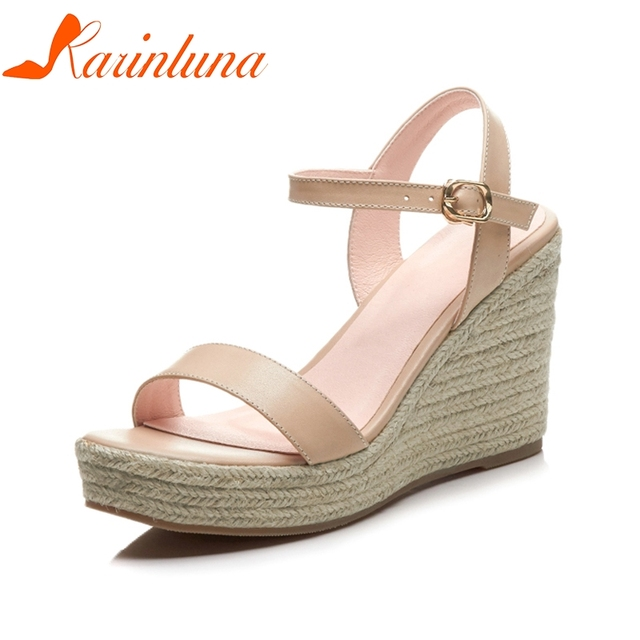 KARINLUNA 2019 Plus Size 33-40 Cow Genuine Leather Summer Sandals Wedding Shoes Women High Heels Solid Woman Shoes