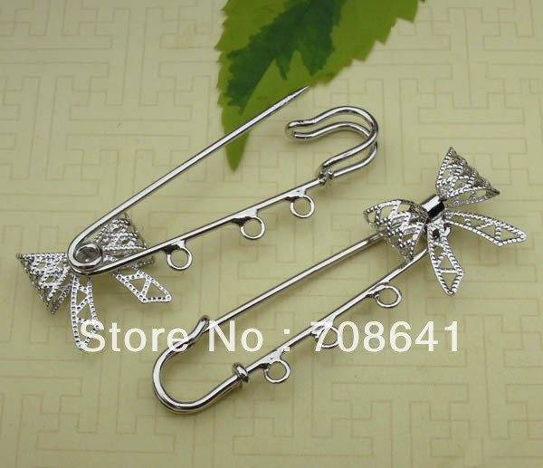 20x20mm Blank Metal Kilt Pins Bases Filigree Bowknot Brooches Pins with 3 Loops Safety-pin DIY Settings Multi-color Plated