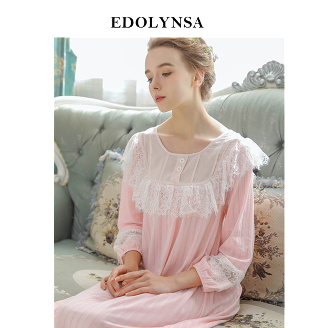 2020 New Arrivals Vintage Nightgowns Home Dress Cotton Sleep Shirts Elegant Solid SleepWear Comfortable Nightgown Female #H575