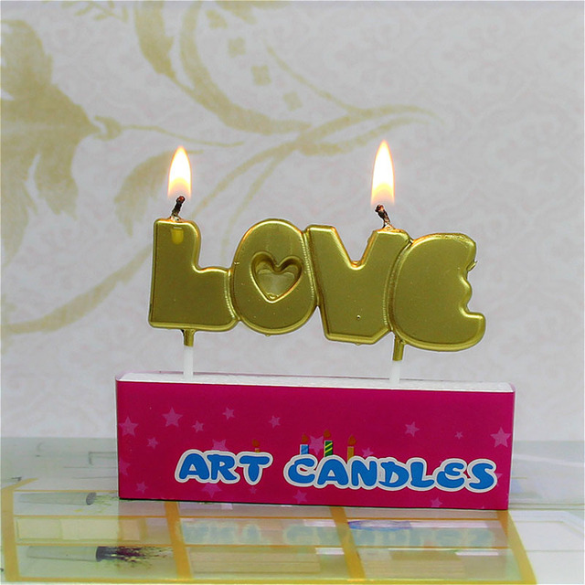 1pc Environmental Luxury Gold English LOVE Letter Candle Valentine's Day Wedding Party Ice cream Cake Creative Propose Gift