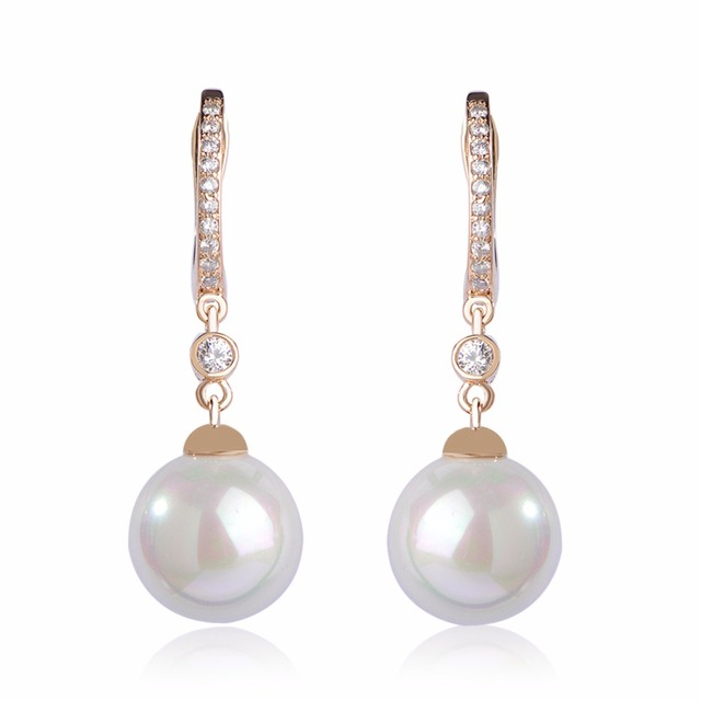 Dazz Classic White Round Simulated Pearls Long Earrings For Women Copper Crystals CZ Zircon Dangling Ears Aretes Accessories