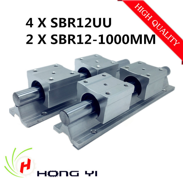 2pcs SBR12 L 1000mm Linear shaft rail support + 4pcs SBR12UU Linear guides bearing blocks For CNC