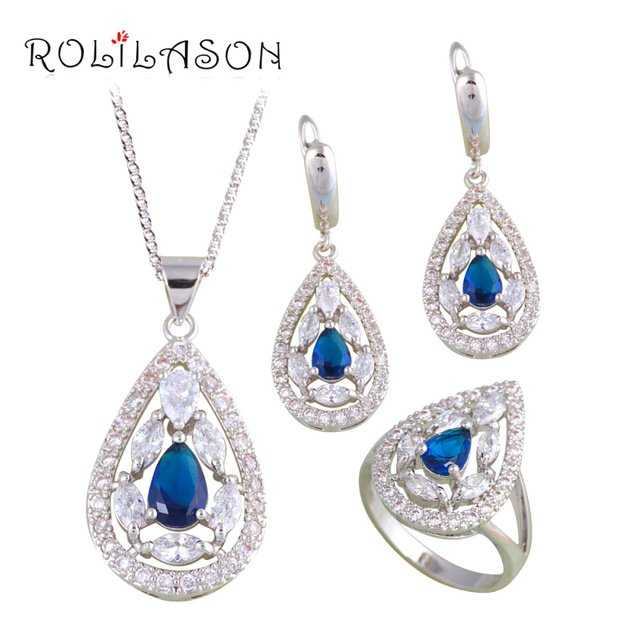 ROLILASON Cheap Price Romatic Blue Zircon Silver Stamped Fashion Jewelry Sets Earring Necklace Pendant Rings for Women JS681