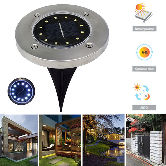 12 LED Solar ground lawn grass  Lights Buried Light Ground Lamp Eco-Friendly Durable Path Way Security