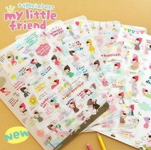 10packs/lot  Cartoon PVC cute Little Red Hood note sticker Diary Stickers deco Label Multifunction Fashion