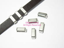 FF48 10pcs 10mm leather sliders Smooth 10x2mm Flat leather findings