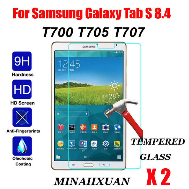 """2Pcs 9H Explosion-Proof Tempered Glass For Samsung Galaxy Tab S 8.4 T700 T705 SM-T700 SM-T705 8.4"""" Clear Screen Protect Film"""