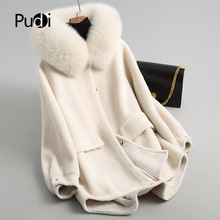 PUDI A18053 women's winter warm genuine wool fur with real fox collar coat lady coat jacket overcoat