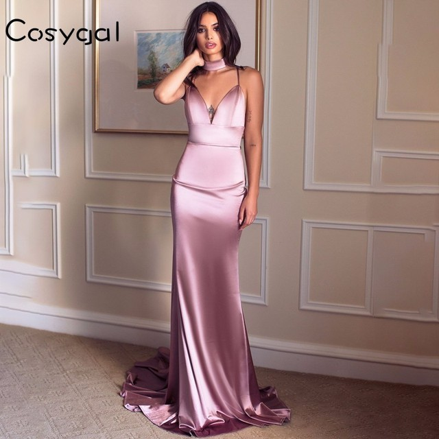 COSYGAL Backless Long Summer Dress Women V Neck Red Satin Women Dress Night Party Floor-Length Maxi Dress Club Vestidos 2018