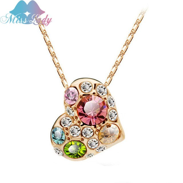 Miss Lady Rose Gold color ethnic jewelry Crystal Wedding Bridal Heart Necklaces  Pendants Fashion for women MLY5319