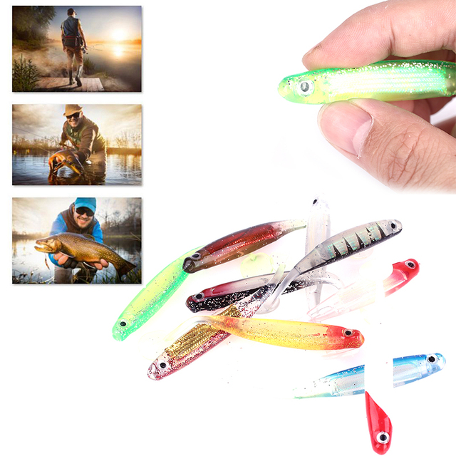 10pcs/Set Soft Artificial Lure Fake Bait Fishing Lure Offshore Angling Silicone Fish Shaped Durable Bionic Bait Outdoor Sport