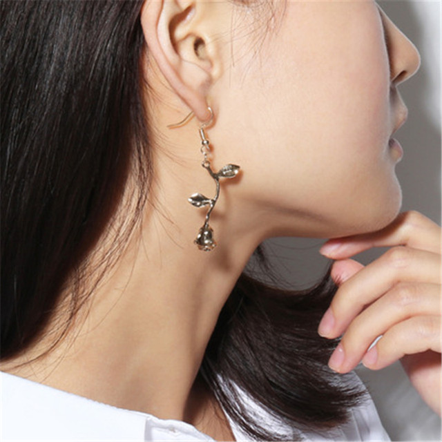 e-shine rose drop earrings for women alloy metal material wedding engagement occasion brand fashion jewelry