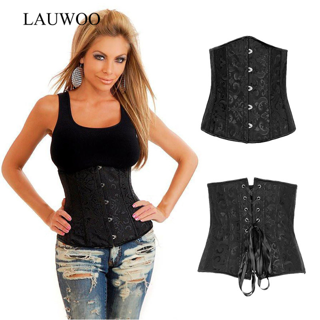 LAUWOO Plus Size Sexy Basques Underbust Corset Embroidered Lace Up Waist Cincher Shaperwear Nightwear Train Shaper Bustier S-6XL