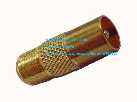 Free Shipping /50pcs/ Gold F Female Jack to PAL IEC DVB-T TV Male Plug Coaxial RF Connector Adapter New
