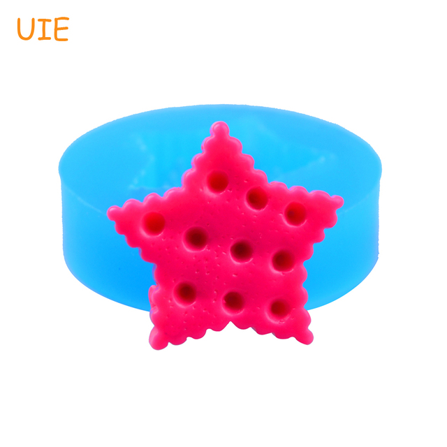 QYL004U 21.3mm Star Cookie Flexible Silicone Push Mold - Fondant, Cake Decorating, Resin, Clay, Chocolate, Gum Paste, Food Safe
