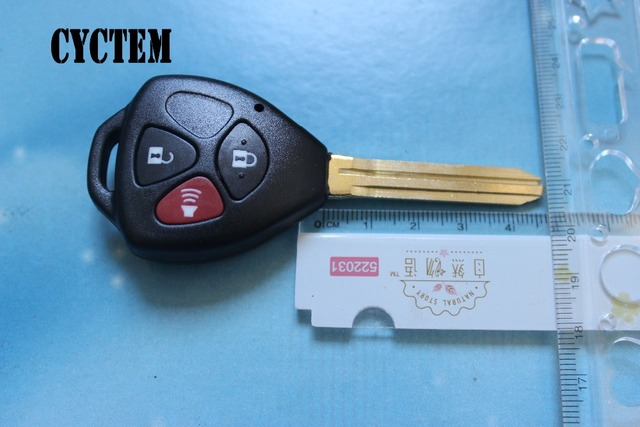 CYCTEM Car Key Shell Replacement 3 Buttons Remote Key Case Blank Cover Fit For Toyota Camry