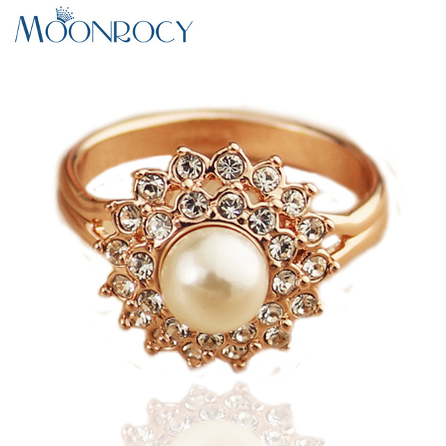 MOONROCY Drop Shipping Rose Gold Color Cubic Zirconia Austrian Crystal Imitation Pearl Rings fashion Jewelry new for women
