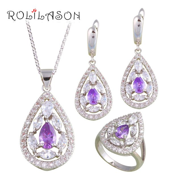 ROLILASON Engagement for Lover Purple Zircon silver plated Stamped Sets Earring Necklace Pendant Rings Fashion Jewelry JS684