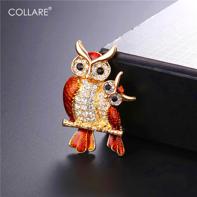 Collare Owl Brooches For Women Crystal Rhinestone Pin Brooch Gold/Silver Color Enamel Pin Men Jewelry B100