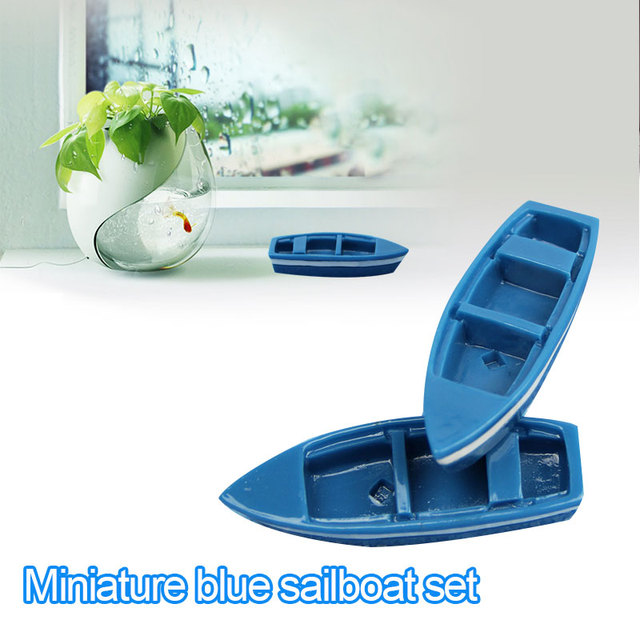 Mini Boat Ornament Mini Boat Decoration Mini Boat Toys Resin Blue Home Decor Statues Exquisite Ornament Fishes Decoration Ship