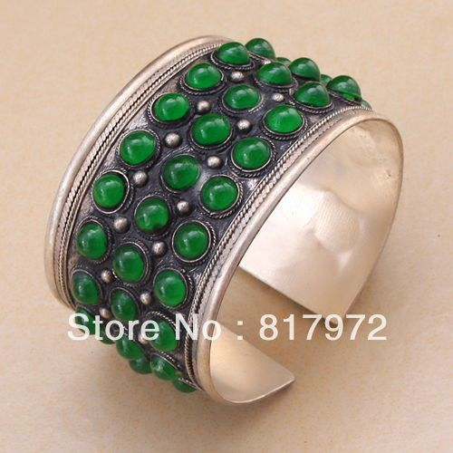 Green bead inlay Old tibet silver cuff bracelet quality Adjustable Party Gift
