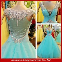 WD-2695 Illusion back crystal beaded no tail ice blue wedding gown ice blue ball gown gownes wedding gown