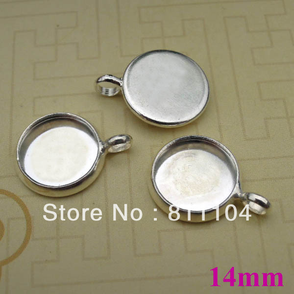 14mm Silver Plated Copper Circle Round Blank Bases Tray with Circle Loop Pendant Cameo Settings Blank Bulk Wholesale