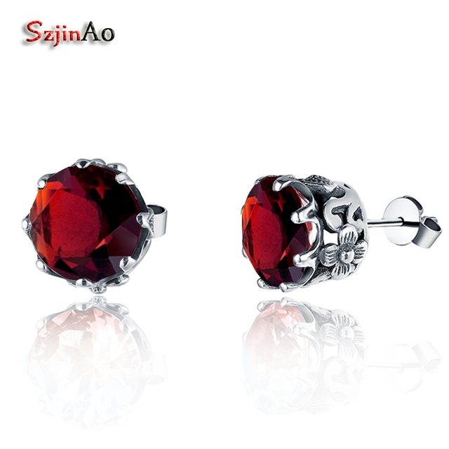 Szjinao Pure 925 Sterling Silver Jewelry For Women Wedding Earrings 1.2ct Garnet Fashion Bridal Earring boucle d'oreille