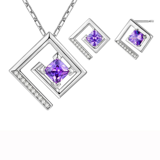 Luckyshine Romantic Darling Square Dazzling Cubic Zirconia Crystal Fashion Hot Silver Necklaces Earrings Jewelry Set