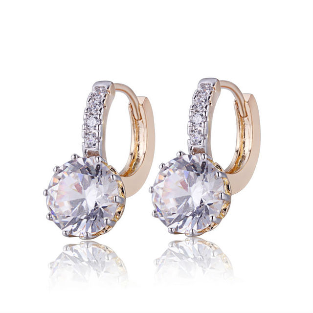 Wholesale 2020 Gold-Color CC Hoop Earrings For Women Earring With CZ Cubic Zirconia Circle Earings Free Shipping 22E18K-101